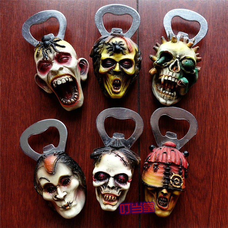 Free shipping Punk Skulls Cool Fridge Magnets Bottle Openers Figures Tourist Souvenir home decoration toy party supply gifts