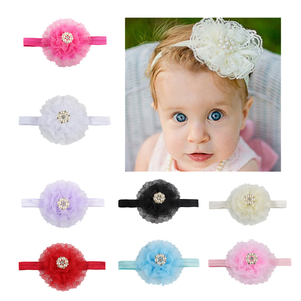 Fashion Florals  Solid Color Baby Headband Newborn Baby Elastic Princess Hairbands Child Kids Fresh Style Cute Headwear Gifts