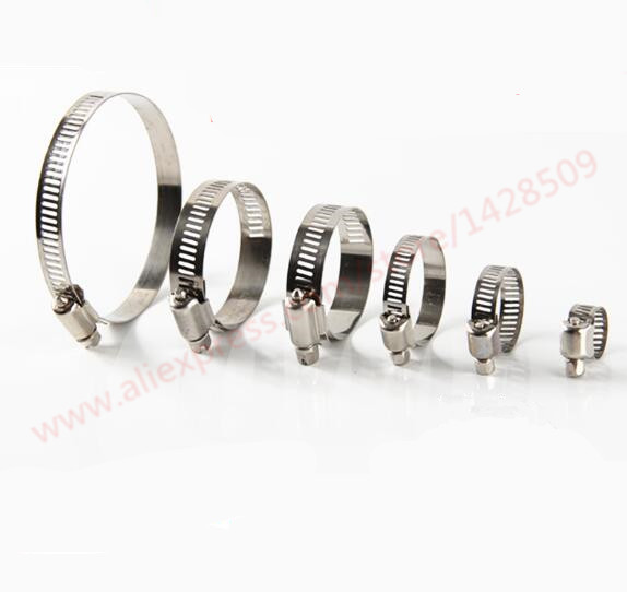 Adjustable Type Screw Band Worm Drive Hose Clamps,  Stainless Steel Hose Hoop Pipe Clips