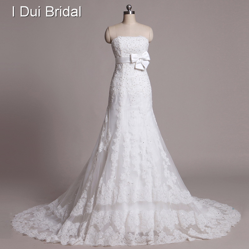 Strapless Beaded Tulle Lace Ribbon with Bow A line Wedding Dresses Real Picture Chapel Train