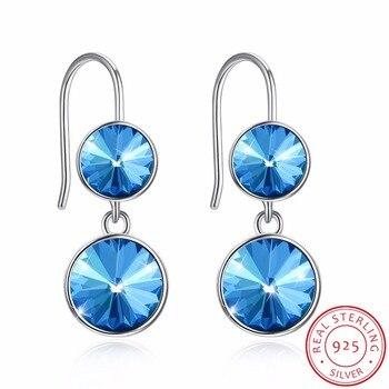 cef51ece2f3d LEKANI Swarovski aretes para las mujeres ronda cristal gota pendiente de  joyería fina de plata esterlina 925 Brincos