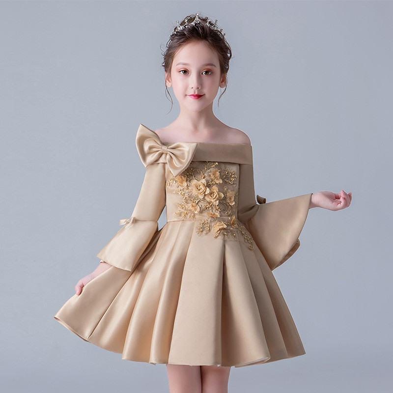 Kids Girls Elegant Bowknot Wedding Party Dress Children Sequins Pearls Formal Gowns Teens Girls Beading Princess Vestidos Q187Kids Girls Elegant Bowknot Wedding Party Dress Children Sequins Pearls Formal Gowns Teens Girls Beading Princess Vestidos Q187