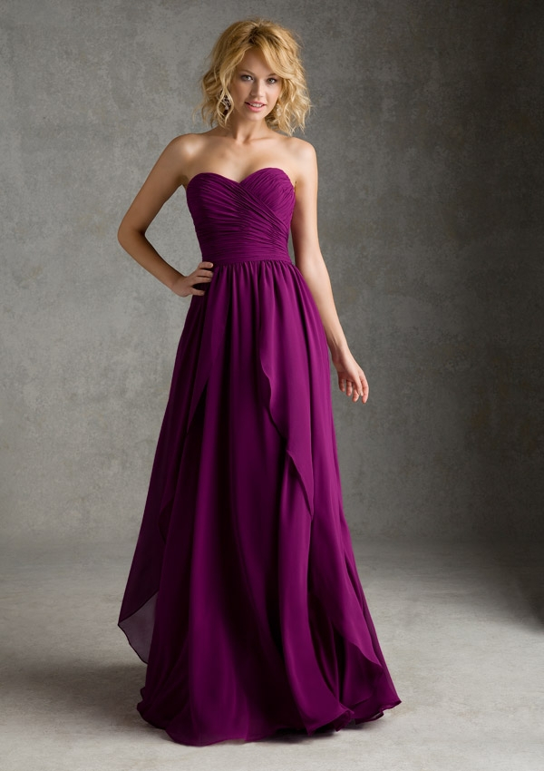 Purple Chiffon Bridesmaid Dresses To Party Simple Designs Pleat Sweetheart Off The Shoulder Vestidos De Soiree For Weddings In From
