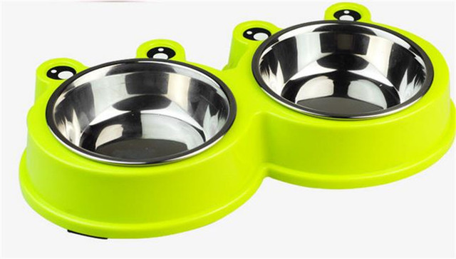 Dog and Cat Combo Bowl Frog Shape