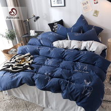 ParkShin Fashion Deer Blue Bedding Set Soft Duvet Cover Bedspread Pillowcase Single Double Queen King Size Adult kids Bed Linens
