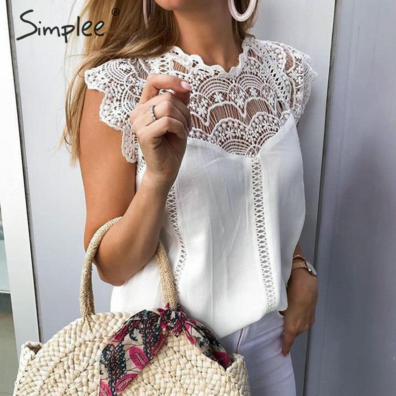 Simplee Elegant embroidery white lace   tops   Women sleeveless chiffon cami   tops   Sexy summer style   tank     tops   female   tops   camisole