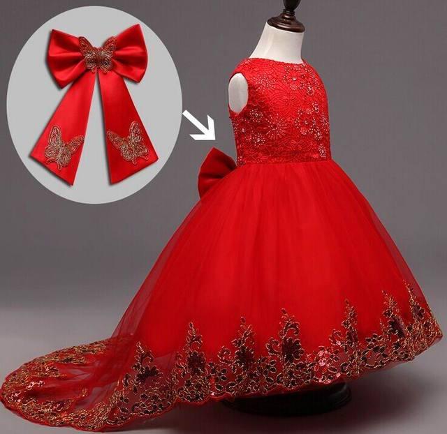 2017 Nuevo Partido de La Muchacha Vestido de Lentejuelas Rhinestone de Encaje Princesa Arrastra El Vestido Rojo de La Boda Vestido de Ropa de Los Niños 2-9 T RC00218