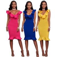 2017 Summer Dress Sexy Ruffles Deep V Neck Women Dress Bandage Bodycon Vestidos Clubwear Yellow Blue
