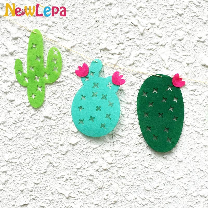 Lõbus roheline troopiline mittekootud kangad Cactus Garland Bänner - Pühad ja peod - Foto 4