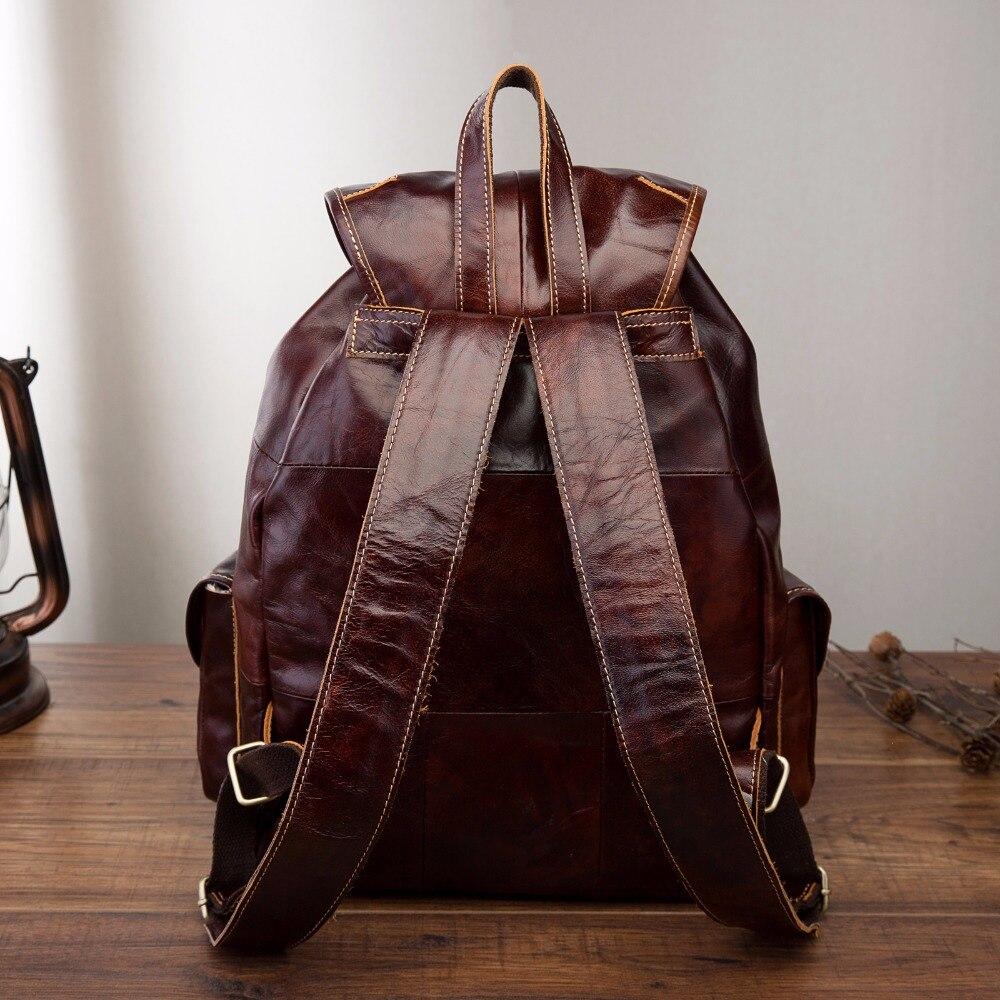Hommes Original en cuir mode voyage université collège école livre sac Designer mâle sac à dos sac à dos étudiant pochette d'ordinateur 9950 c-in Sacs à dos from Baggages et sacs    3