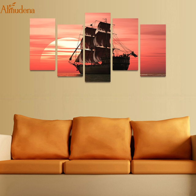 ALMUDENA Unframed Canvas Wall Art Modern Print Pictures 5 Panels ...