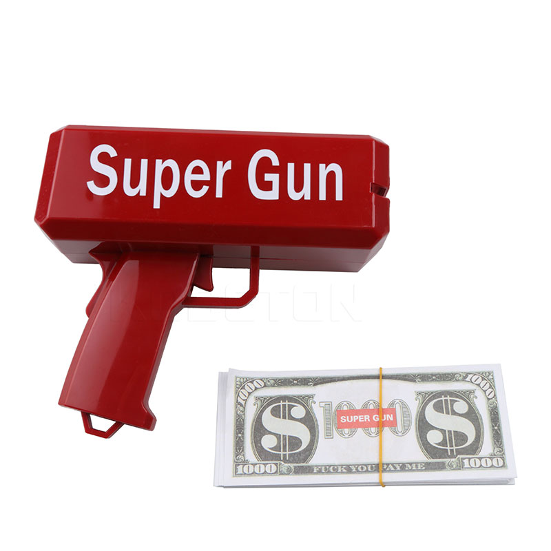Funny Money Gun Cash Cannon Money Gun Fashion Toy Make It Rain Money Gun Red Christmas Gift Toy Pistol Children Posing Cool Gift