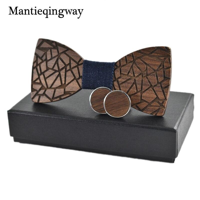 Mantieqingway Brand Fashion Wood Bowtie & Cufflinks Set for Men Wedding Wooden Bow Tie Neckwear Male Bowkont Business Suit Gift