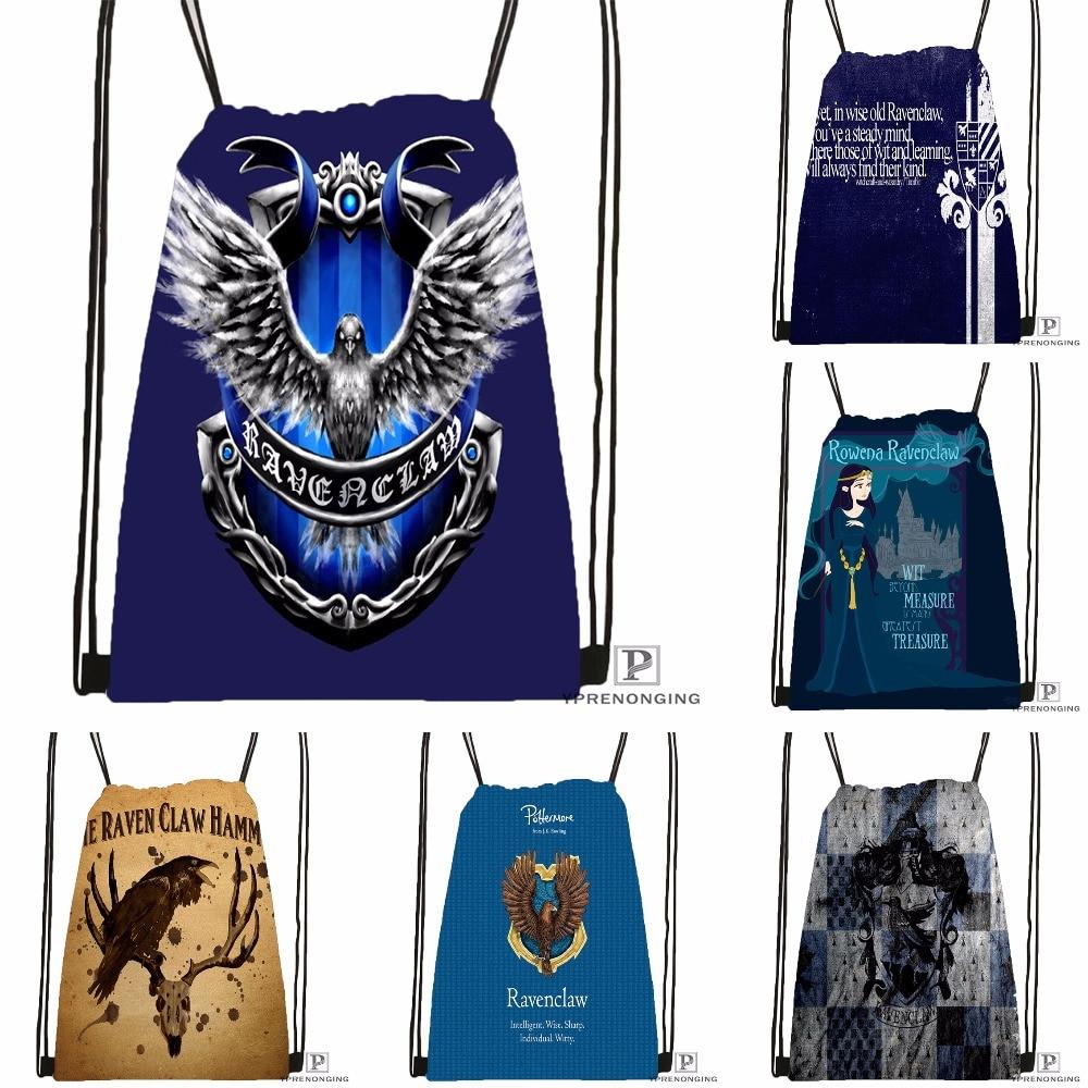 Custom Ravenclaw Drawstring Backpack Bag Cute Daypack Kids Satchel (Black Back) 31x40cm#180531-02-11