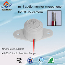 SIZHENG QD-30 HD audio monitor indoor indoor CCTV voice pick up security camera microphone for security system audio pick up mini cctv microphone for camera security rca audio output dc 12v power cable kit for cctv for security dvr system