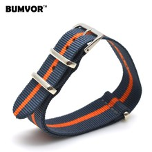 Hot New 2016 Army Military Nato Nylon Watch 22 mm Navy Orange fabric Woven watchbands Strap Band Buckle belt 22mm accessories