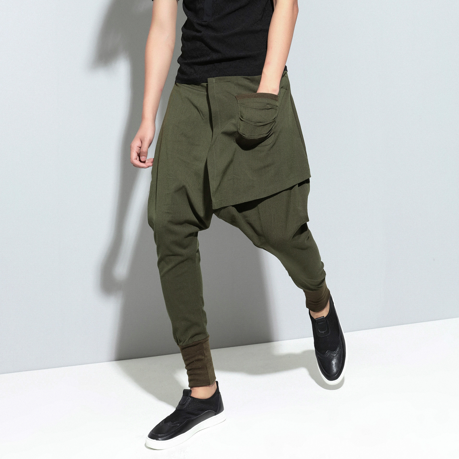 Ejqyhqr Pencil-Trousers Baggy-Pants Street-Sweatpants Patchwork Drop-Crotch Elastic-Waist