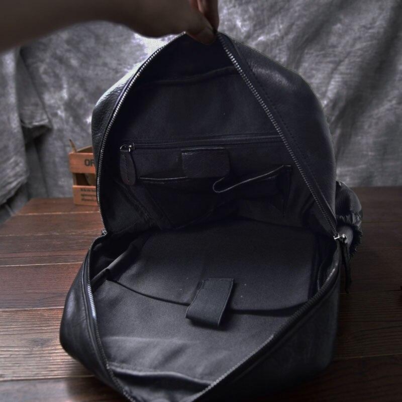 AETOO sac à dos en cuir de cheval fou pour hommes multifonctionnel en cuir véritable 14 sac à dos pour ordinateur portable en cuir de vache sacs d'école à bandoulière - 6