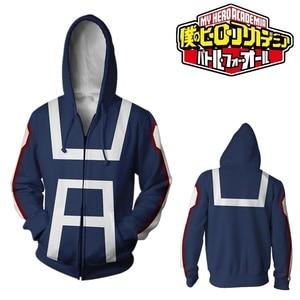 Image 2 - Mon héros académique Boku pas de héros académique 3D impression sweat à capuche fermeture éclair sweat vestes manteau Cosplay Costumes Anime uniformes scolaires