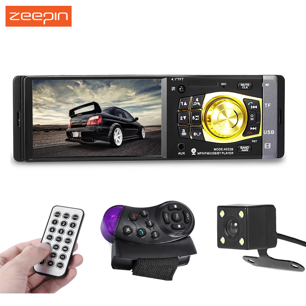4032B 4.1 inch Car Radio Stereo Vehicle-mounted MP5 Player Bluetooth Audio Video TF USB Port Camera Available Remote control