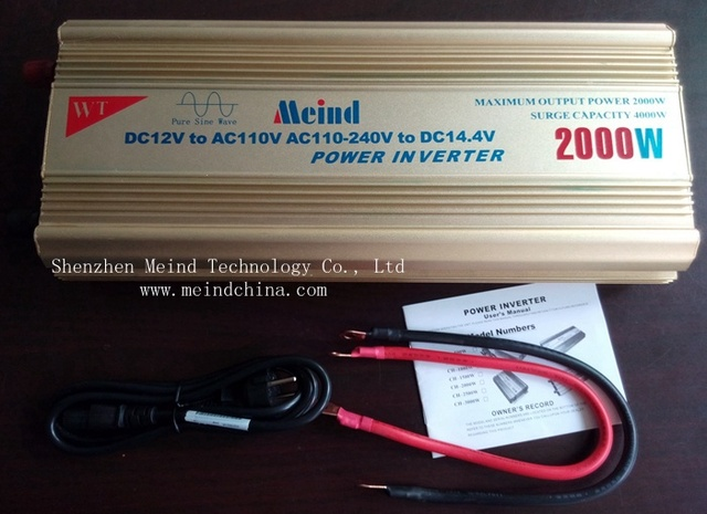 Meind@ High Quality Pure Sine Wave Built-In Charger DC 24V to AC 220V Continuous 2000W Peak 4000 Watt Power Inverter