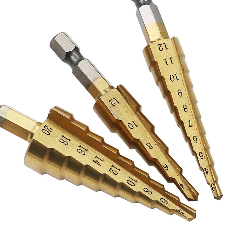 JIGONG 3pcs/Set Titanium Step Drill Bits HSS Power Tools High Speed Steel Hole Cutter Wood Metal Drilling 3-12mm 4-12mm 4-20mm