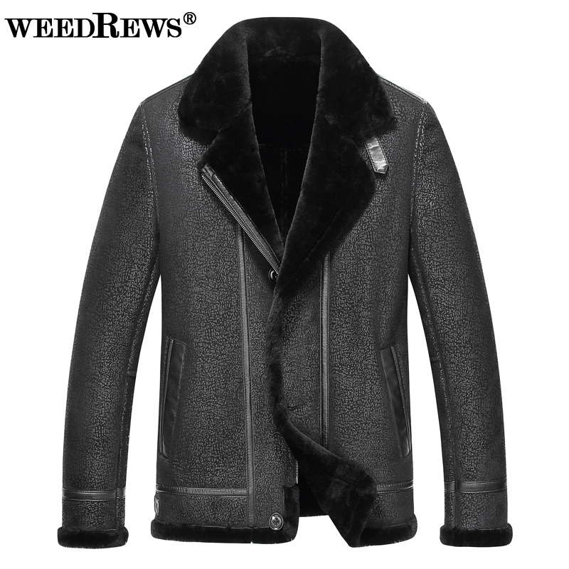 2017 New Men's Double-faced Fur Coat Genuine Sheepskin Leather Jacket With Sheep Shearling Collar Black Real Leather Outerwear
