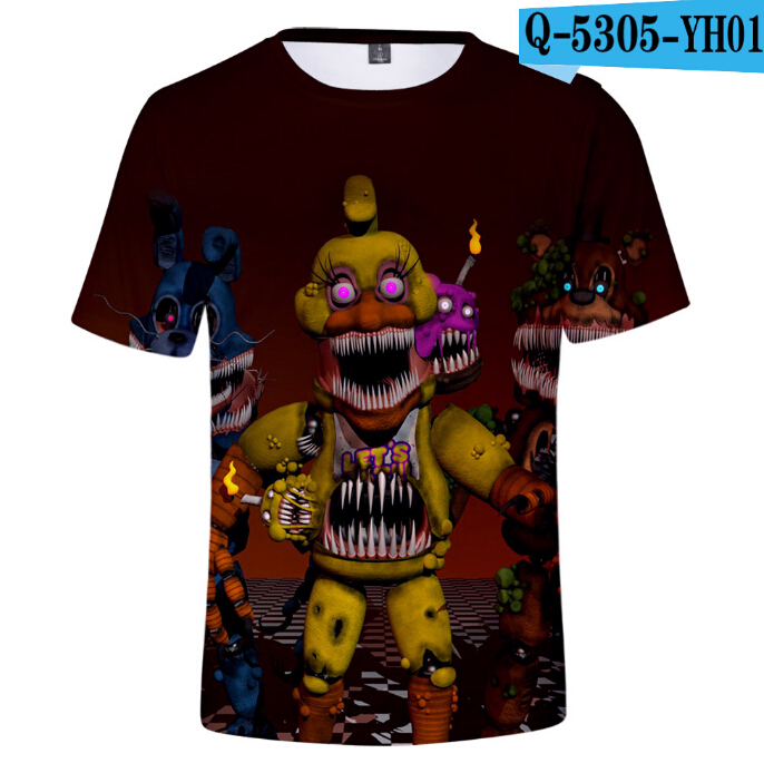 Boy Short-Sleeves Children t-Shirt 3d-Print Fnaf At TT Five-Nights Freddy's
