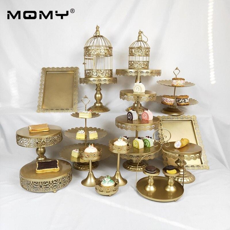 18 pcs Wedding Cupcake Gold Set Crystal Wholesale Metal 3 Tier Cake Stand