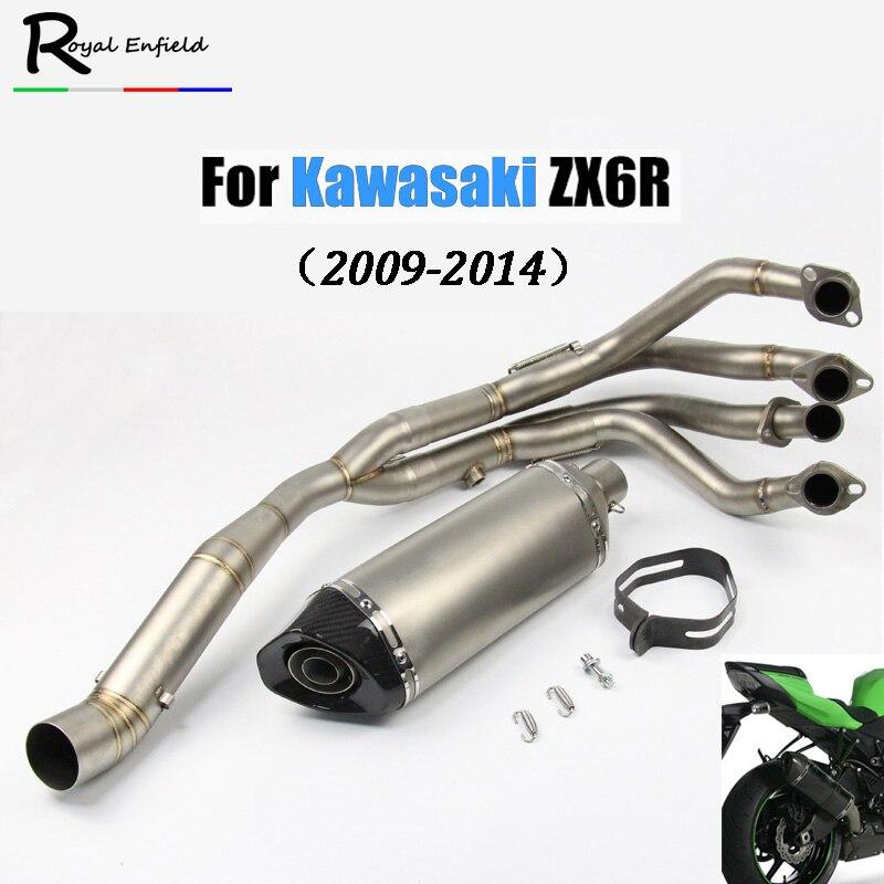 Système de tuyau complet avec échappement pour akrapovic adapté pour Kawasaki ZX6R tuyau de silencieux moto Tube d'en-tête avant échappement de sans lacet