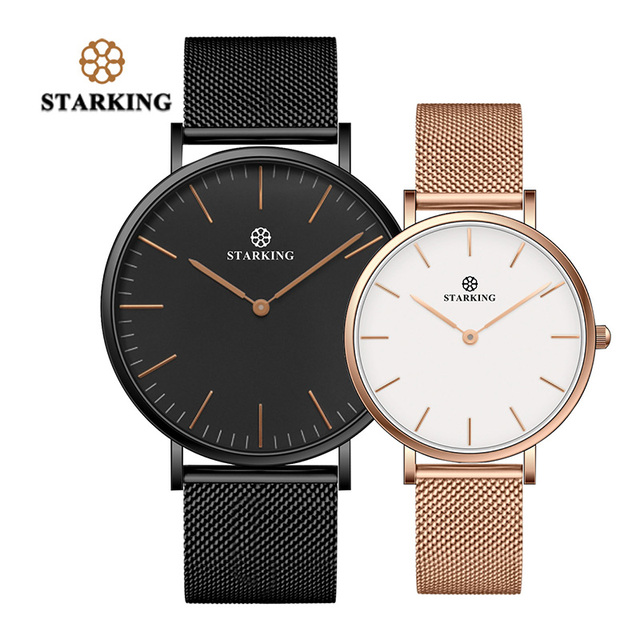 STARKING 2017 New Brand Couple Watches For Lovers Gift Black Gold Mesh Stainless