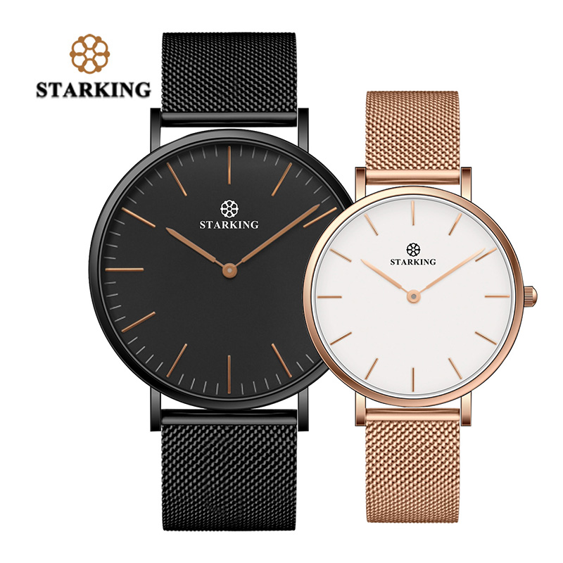 STARKING New Brand Couple Watches For Lovers Gift Black Gold Mesh Stainless Steel Quartz Analog 30M Waterproof Casual Watch