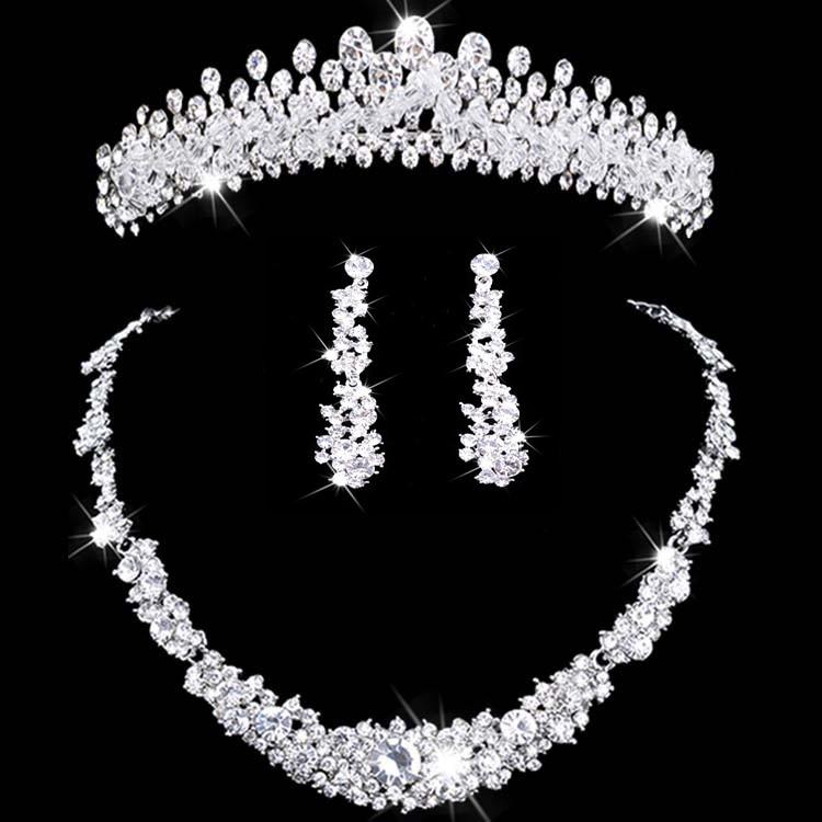 Colar e Conjunto Coroa de Flores Acessórios de Casamento Joia Nupcial Tiara