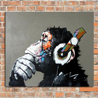 Knife Handpainted Abstract Animal Oil Painting On Canvas Modern Home Decor Wall Art Pictures Large Black