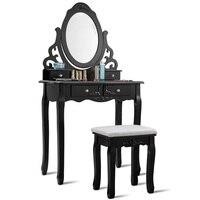 Exquisite Vanity Makeup Dressing Table Stool Set Sturdy Wooden Frame Rotating Mirror 4 Storage Drawers Bedroom Furniture HW55562