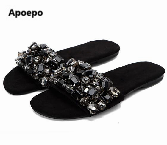 bf1ba35b7e25 Newest brand 2017 Summer Crystal Embellished Woman Flat Sandal Open Toe Black  Leather Slides Hot Selling