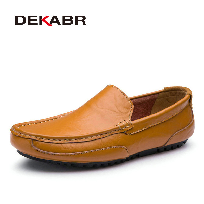 DEKABR Handmade Men Flats Shoes Soft Split Leather Men Loafers Casual Driving Shoes Classical High Quality Moccasins For Men new handmade spring summer soft dough leather flats quality leather men loafers men moccasin casual shoes driving shoes