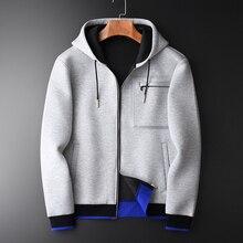 Minglu Grau Hoodies Männer Luxus Kombiniert Stoff Mit Kapuze Sweatshirts Für Männer Plus Größe 3XL 4XL Frühling Slim Fit Sweatshirt Männlichen