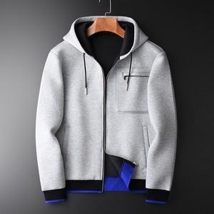 Image 1 - Minglu Grey Hoodies Mannen Luxe Gecombineerd Stof Hooded Sweatshirts Voor Mannen Plus Size 3XL 4XL Lente Slim Fit Sweatshirt Mannelijke