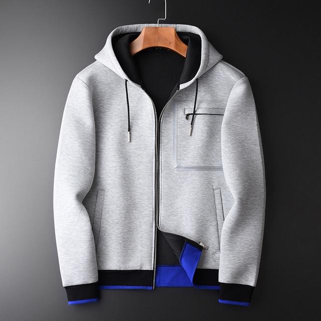 Minglu Grey Hoodies Mannen Luxe Gecombineerd Stof Hooded Sweatshirts Voor Mannen Plus Size 3XL 4XL Lente Slim Fit Sweatshirt Mannelijke