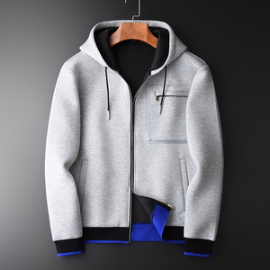 Image 1 - Minglu Grey Hoodies Men Luxury Combined Fabric Hooded Sweatshirts For Men Plus Size 3XL 4XL Spring Slim Fit Sweatshirt Male