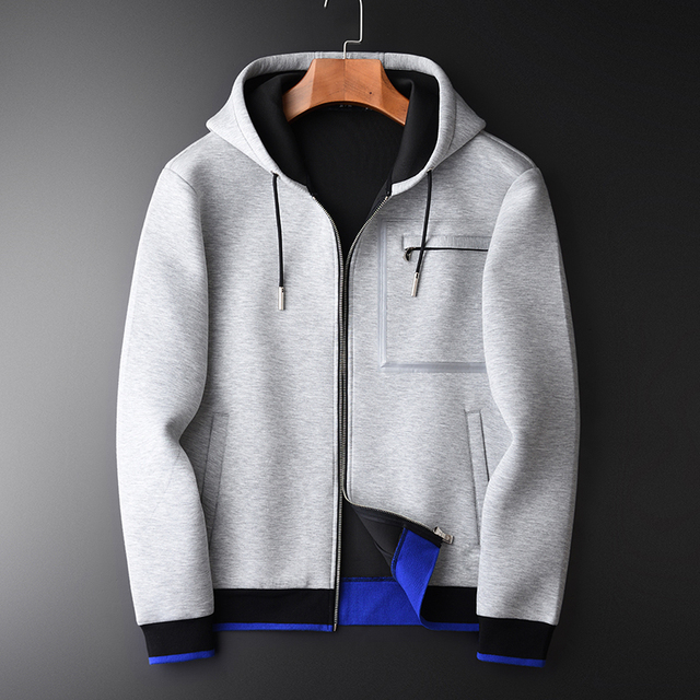 Minglu Grey Hoodies Men Luxury Combined Fabric Hooded Sweatshirts For Men Plus Size 3XL 4XL Spring Slim Fit Sweatshirt Male