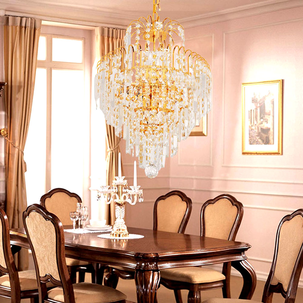Luxury Royal Golden Crystal Chandelier Diy Lighting Fixture Hanging Ers De Cristal Res Led E14 Pendant Art Lamp In Chandeliers From Lights