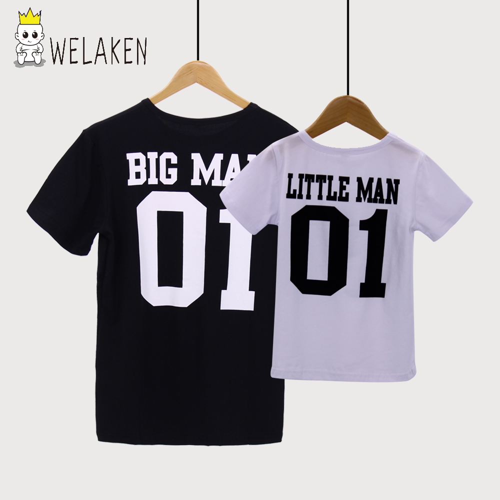 weLaken Fashion 2017 Family T-Shirts Big Man Little Man Pattern Father Son Matching Summer Tees Family Look Outfits