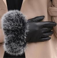 Women's autumn and winter thicken fleece lining glove lady's natural fox fur glove genuine leather driving glove R282