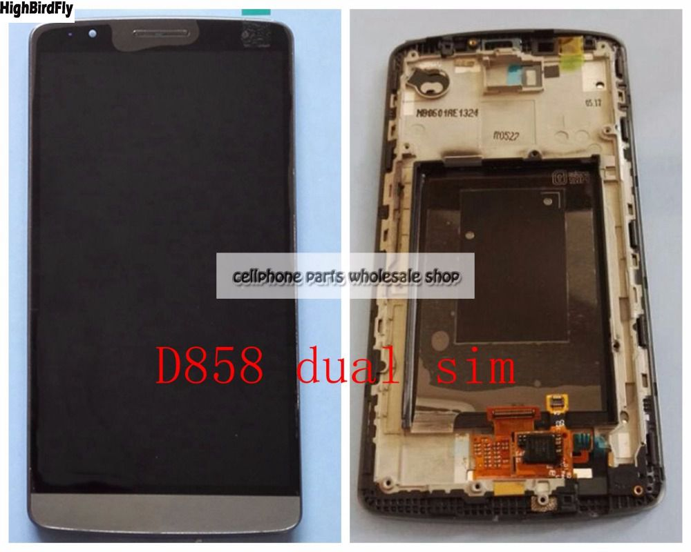 Highbirdfly For Lg G3 Dual SIm D858 D856 Lcd Display WIth Touch Screen DIgitizer With Frame Assembly Replacement