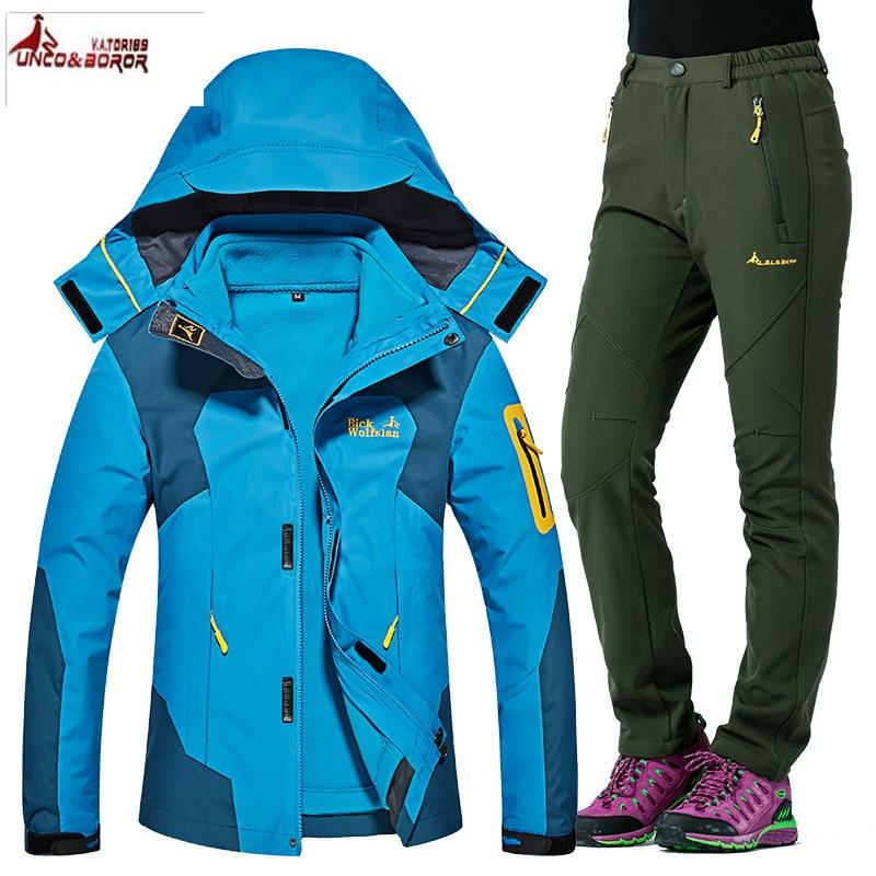 Autumn Winter Women Outdoor Ski Jacket suits Hiking Camping Sports Waterproof Fleece 2 in1 Windbreaker jacket +Fleece Pants Sets