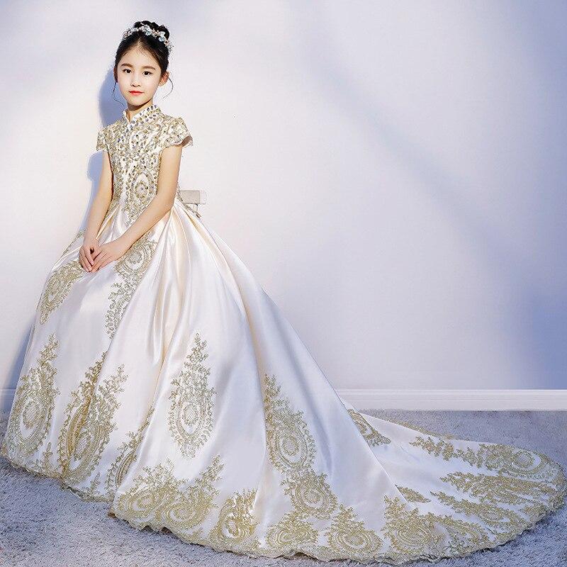 Luxury golden flower girl dresses for wedding beaded children night ball dresses girls dresses with train