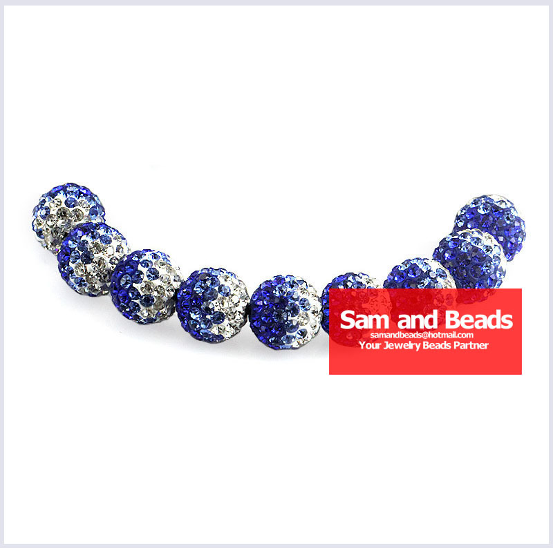 50pcs/lot Gradient Clay Disco Crystal Pave Ball Beads For Bracelet Blue Multi Wholesale 10mm High Quality Novel Design; In