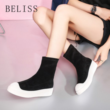 BELISS new spring autumn women flats boots round toe fashion sexy elastic shoes mid calf platform for ladies M11